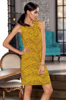 Желтое платье без рукавов с геометрическим рисунком RUXARA