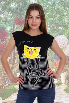 Черная футболка с котом Натали