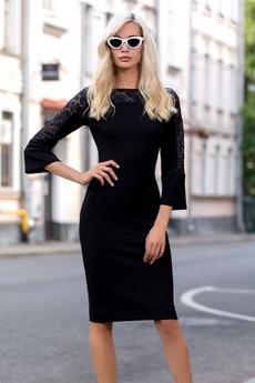 Черное платье с гипюровыми рукавами RUXARA