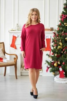 Красное платье с длинными рукавами Шарлиз