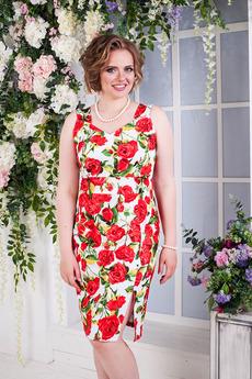 Платье с красными цветами Angela Ricci